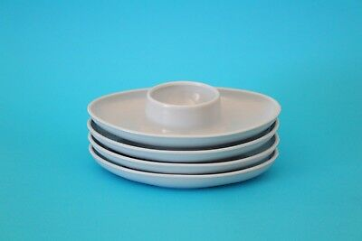 Vintage Mid-Century Blue Plastic Flying Saucer Stackable Egg Cups Set of 4 Retro