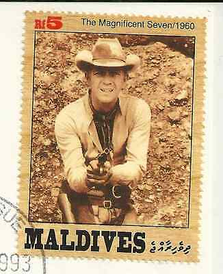 Steve Mcqueen & Magnificent Seven Stamp On Envelope - 1993 Maldives 1St Day