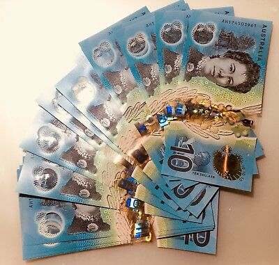 🌟2x EARLY RELEASE AH PREFIX AUSTRALIA NEW $10 Dollar 2017 Lowe/Fraser Bank note