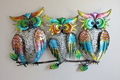 3 OWLS ON TREE BRANCH  METAL PLAQUE Garden Home Decor 19.5 in. W New Family