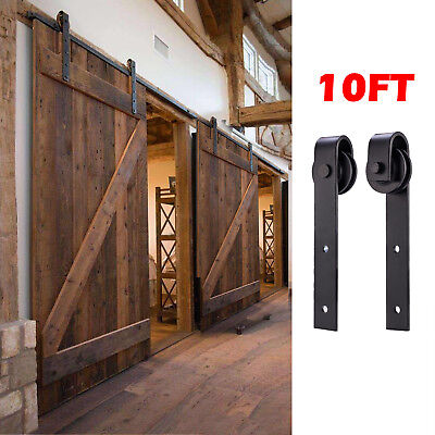 New 10FT Antique Country Steel Sliding Barn Wood Double Door Hardware Track Set