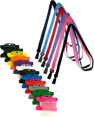ID Card Pass Badge Holder & ID Soft Neck Lanyard Strap with J-Clip Free P&P