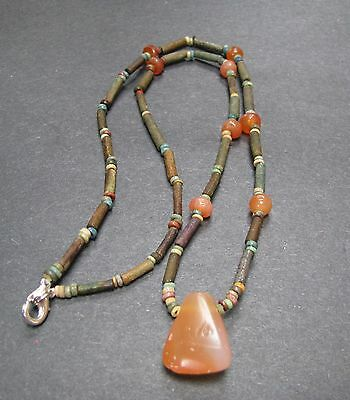 NILE  Ancient Egyptian Carnelian Amulet Fainece Mummy Bead Necklace ca 600 BC