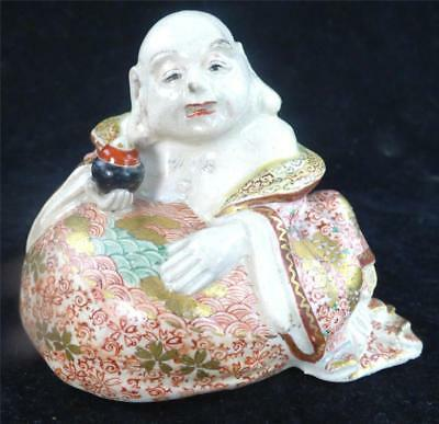 Antique Japanese Meiji Satsuma Seated Buddha Figure Hotei
