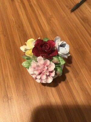 Royal Doulton Porcelain Flowers Bouquet clustered in a small bone china vase