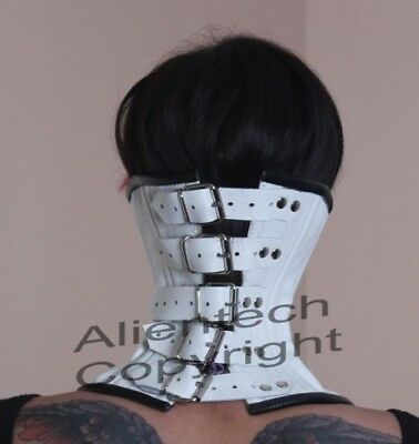 Roller buckle White Real Leather Over Mouth Neck Corset Posture Collar