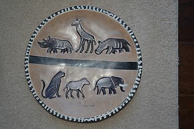 Safari Wall Plate Dish Home Decor Hand Painted Wild Exotic Decoration Animal EUC
