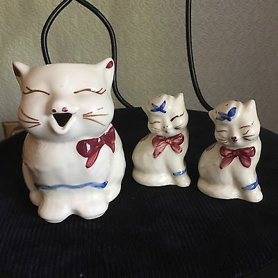 Vintage SHAWNEE PUSS N' BOOTS Creamer Pitcher and Pair of Shakers WITH TAGS !!