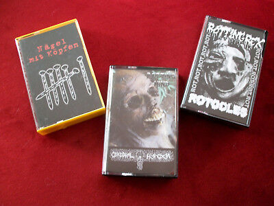 3 x Grindcore Tape package w/MINDFLAIR,DEATHRITE,ROTOCLES,VIDARGÄNGR,GUEVNNA,...