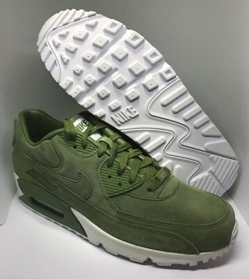 Nike iD Air max 90 Premium Men's Running Shoes Size 9.5 Green White/ Suede