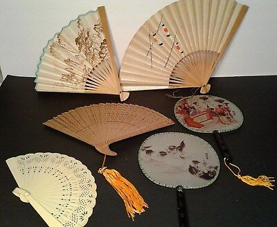 Hand Fans Lot/ 6: 2-silk,1-sandalwood,2-paper,1-vintage plastic Great Condition