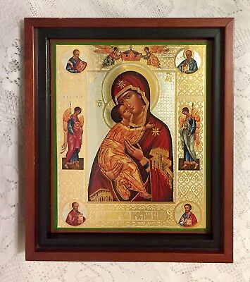 Russian Orthodox Catholic Icon Madonna and Child Framed Shadowbox Picture