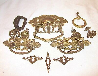 Antique Drawer Pulls Knobs Key Holes Brass Metal Hardware Lot of 15