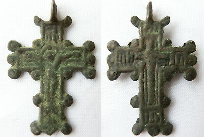 GENUINE ANCIENT BYZANTINE BRONZE CROSS JESUS CHRIST GOLGOTHA PENDANT Gr. patina