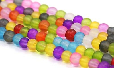 8mm Frosted Glass Bead Spacer Multi Color Round Beading Jewelry Making