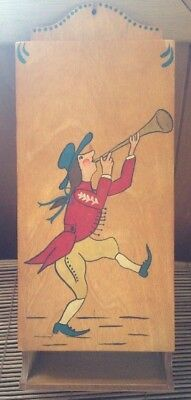 Country Kitchen Antique Vintage Wooden Match Box Holder Wall Mount Man Bugle