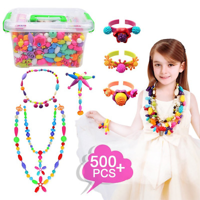 Pop Beads Set 500Pcs Snap Beads for Kids Toddlers- DIY Bead Toys made Jewelry Ne
