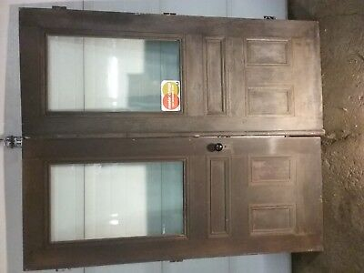 Antique Bevealed Glass window Victorian Entry Way Doors w/Hardware