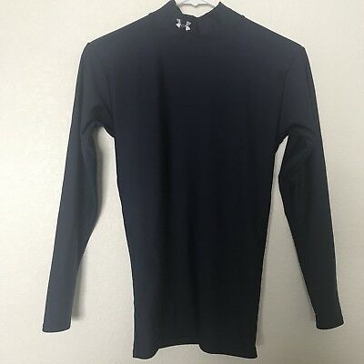 UNDER ARMOUR Womens Mockneck Base Layer Coldgear Long Sleeve Shirt Blue Small