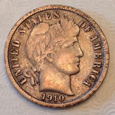 1910 S US Barber Dime Ten 10 Cents