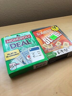 LOT of 2 Scrabble Slam! Card Game And Monopoly deal!