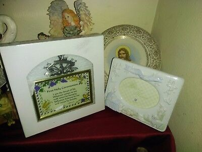 Baby's First Baptism and Communion Picture Frame and Glass Plaque(John 6:35)