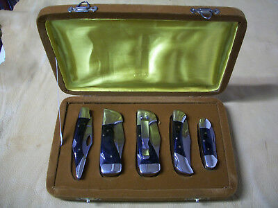 Vintage Custom Knife Set-Lot of 5 Fantastic Knives 4 Lockbacks & 1 Canoe & Case