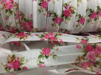 "1m/5m Pink Roses on White FOE 5/8"" Fold Over Elastic Head Band Hairties"
