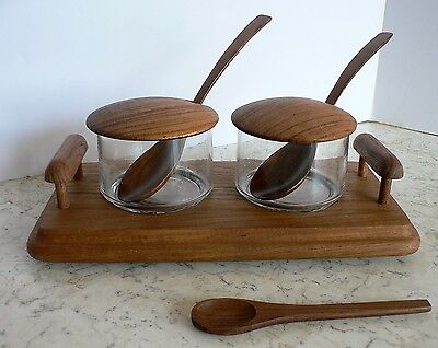Vtg Mid Century TEAK Serving Tray @ Glass Bowls Lids Spoons Condiments Goodwood