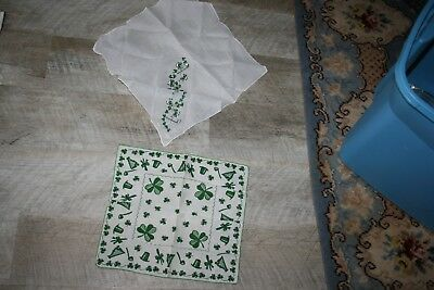 Lot of 2 VINTAGE ST. PATRICKS DAY HOLIDAY HANKY'S SO FUN SHAMROCKS EXCELLENT
