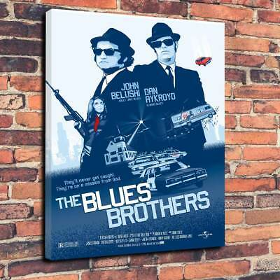 """The Blues Brothers Movie Printed Box Canvas Picture A1.30""""x20""""- 30mm Deep Frame"""