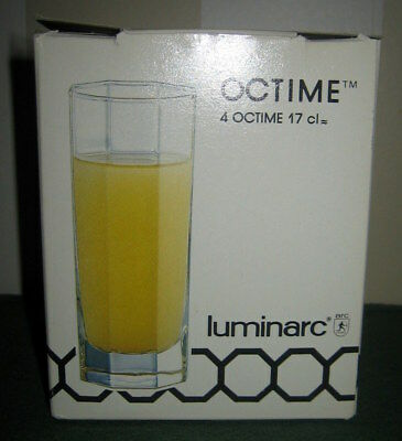 NEW IN BOX ~ Set of 4 ~ Luminarc ~ OCTIME ~ Juice Glasses ~ NEW