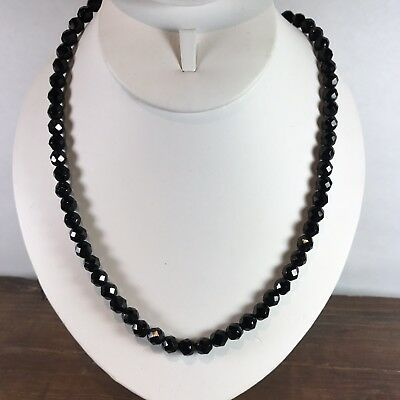 Vintage Black Glass Faceted Bead Beaded 27 inches Elegant Necklace