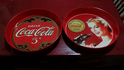 """LOT OF 2 Coca-Cola Round Tin Tray 14"""" Inches X 2 Inches Height"""