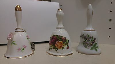 3 Ceramic Flower Decorative Bells by Towle- very pretty