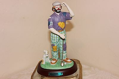 """Emmett Kelly Jr """"The Golfer"""" Porcelain Figurine, Flambro, with Stand, 8-1/2"""""""