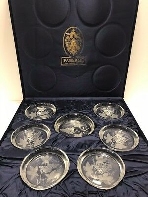 FABERGE 6 CRYSTAL BEVERAGE & 1 WINE COASTER SET SIGNED 7pieces