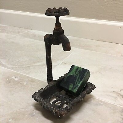 Rustic Cast Iron Soap Dish Water Spigot Vtg Look Home Decor