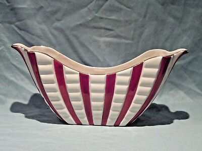 Vintage Red & White Boat Shaped Planter By H J Wood Ltd Burslem England Perfect