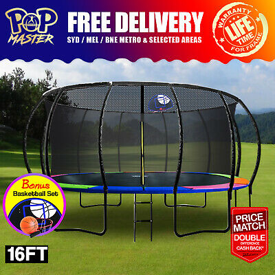 Pop Master 16Ft Curved Trampoline Free Safety Net Free Delivery(T&C)