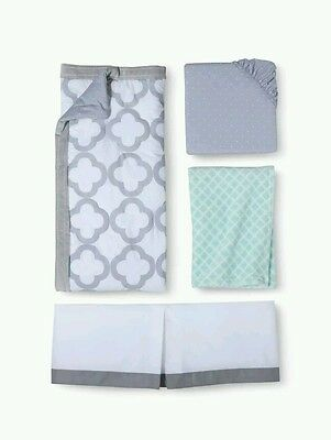 Boy's Girl's Circo 4pc Crib Bedding Nursery Set South of France New Gray Aqua