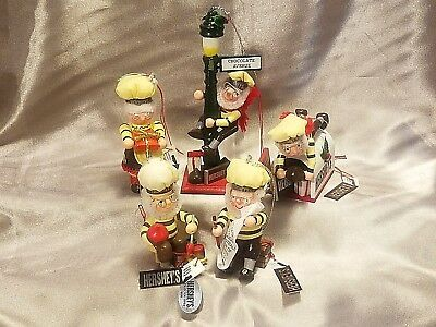 5 Vintage Hershey Holiday Ornaments   1995 - 1999   All With Kurt Adler Tags !