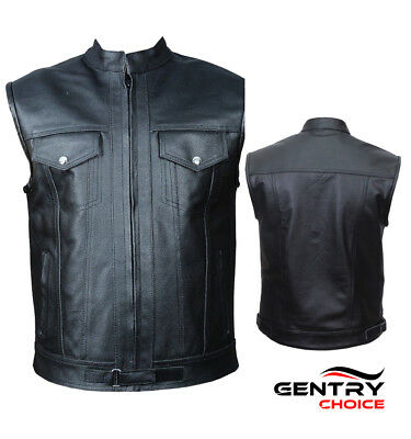 Men Premium Leather Sons Of Anarchy Style Biker Motorcycle Vest Black Waistcoat