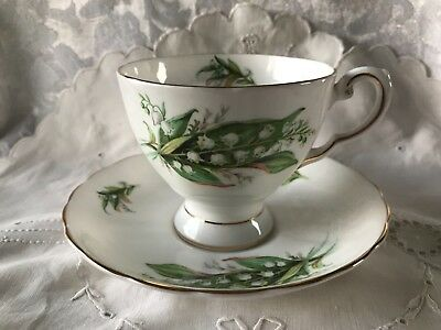 Tuscan Birthday Flowers May Lily of the Valley Teacup & Saucer Set in Excellent