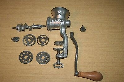 Vintage Pearl 50 Table Mount Food Meat Grinder with 4 Disks Czechoslovakia #2