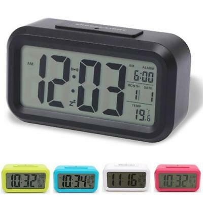 LED Display Backlight Digital Table Alarm Clock Snooze Thermometer Calendar Time