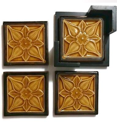 Set of 4 Antique Majolica Art Tile Trivets Coasters Flower