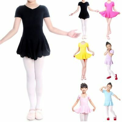 Children Girl Cotton Blend Leotard Ballet Dance Short-sleeved Dress Dancewear US