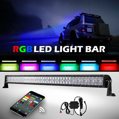 """5D 42Inch 800W CREE LED Light Bar Multi Color Bluetooth Change Offroad Truck 50"""""""