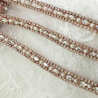 Thin Crystal Rhinestone Pearl Beaded Trim Applique For Wedding Bridal Belt Sash